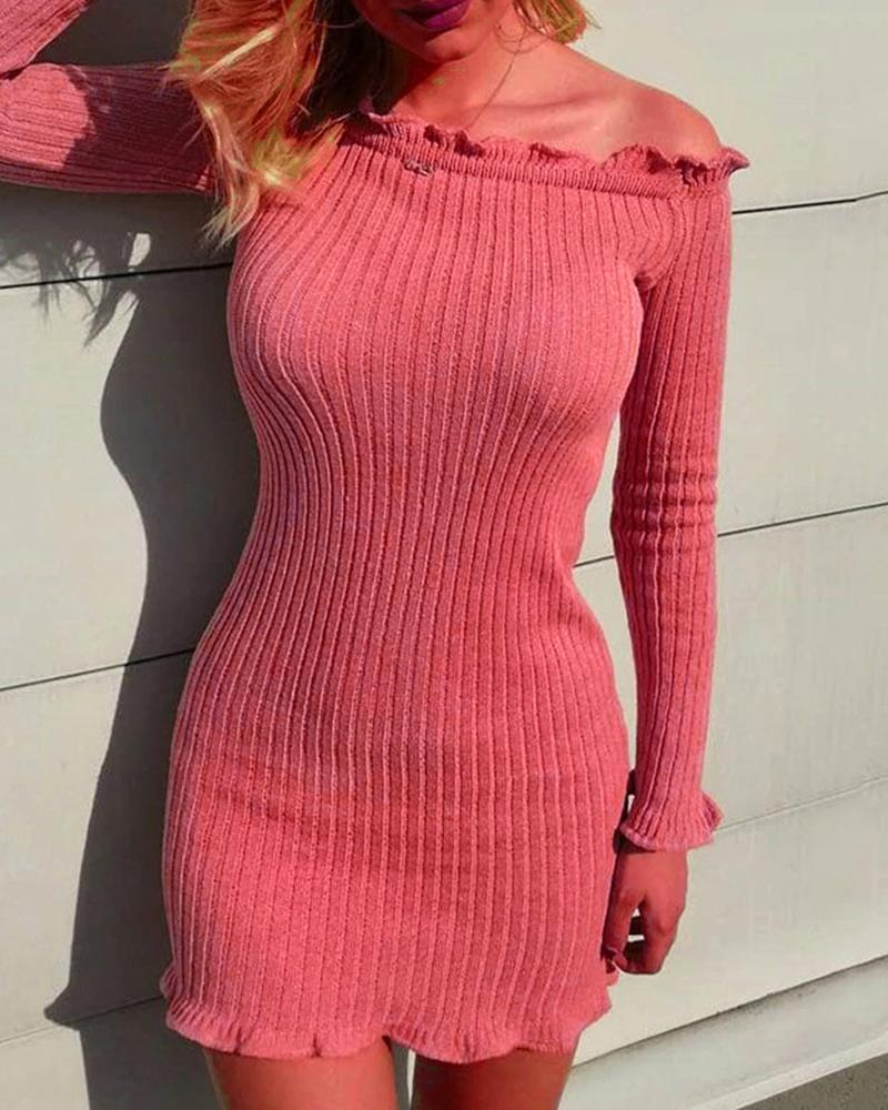 Ribbed Off Shoulder Frill Hem Long Sleeve Dress фото