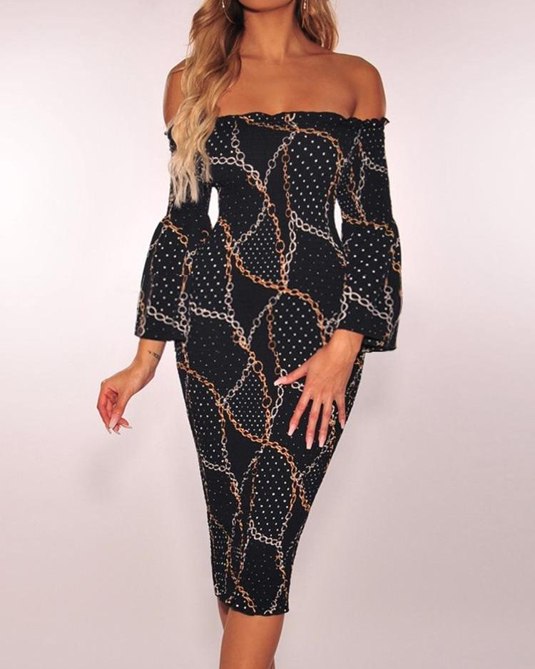 Chains Print Off Shoulder Midi Dress фото