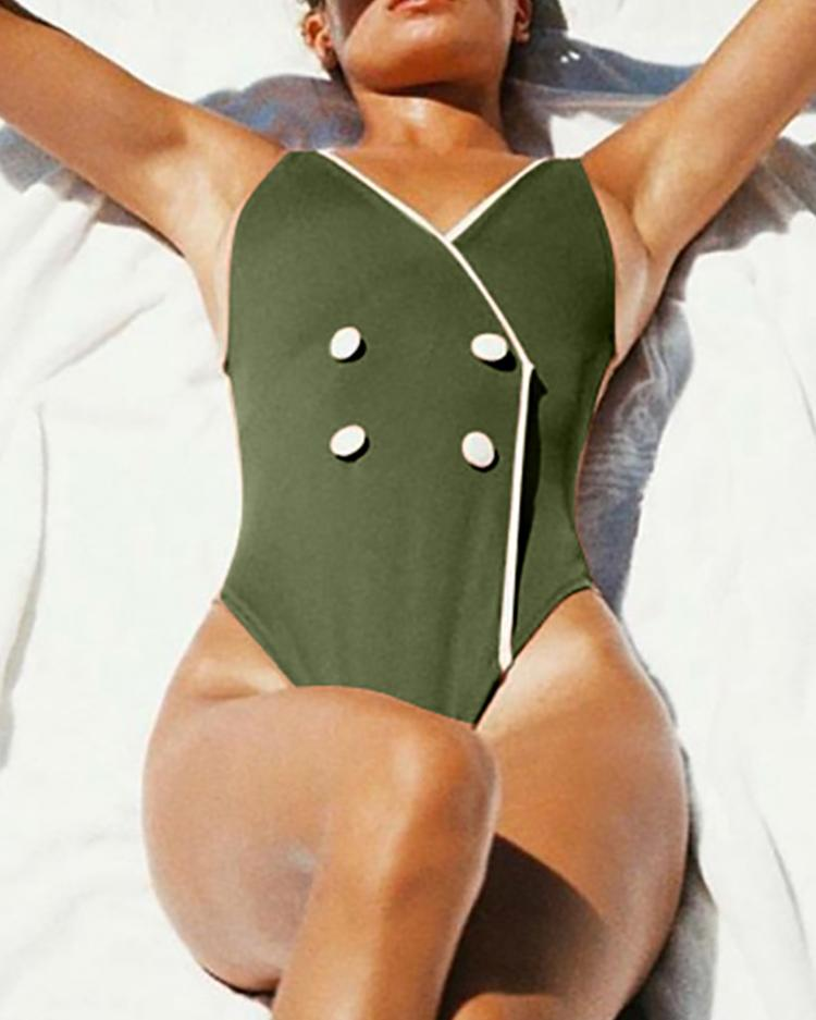 ivrose / Double-Breasted Binding One-Piece Swimsuit
