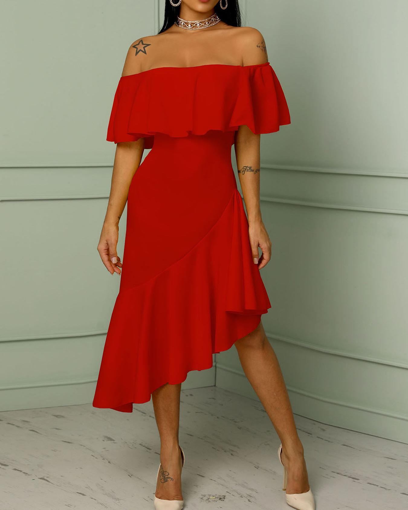 Asymmetric Off Shoulder Ruffles Hem Maxi Dress