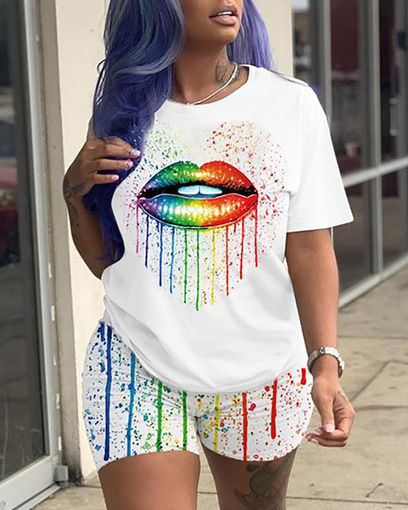 Lip Print Colorblock Top & Shorts Set фото