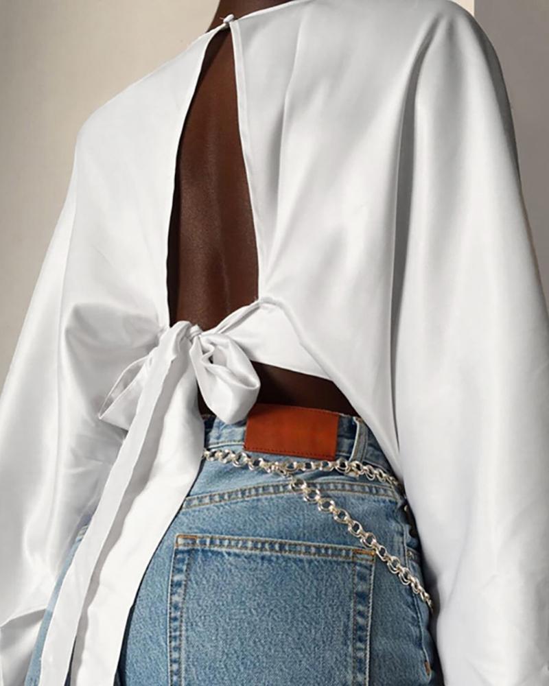chicme / Blusa recortada sin espalda con manga linterna sólida