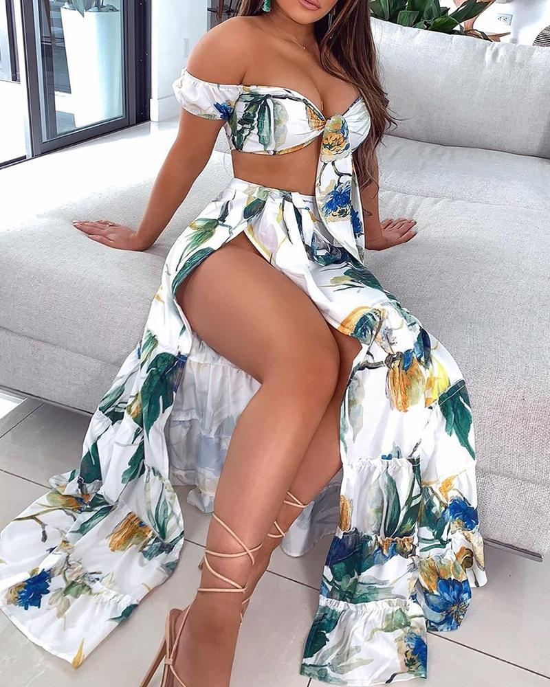 boutiquefeel / Fora do ombro Crop Top & saia de fenda alta conjuntos