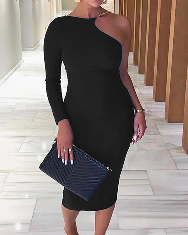 One Shoulder Bodycon Midi Dress фото