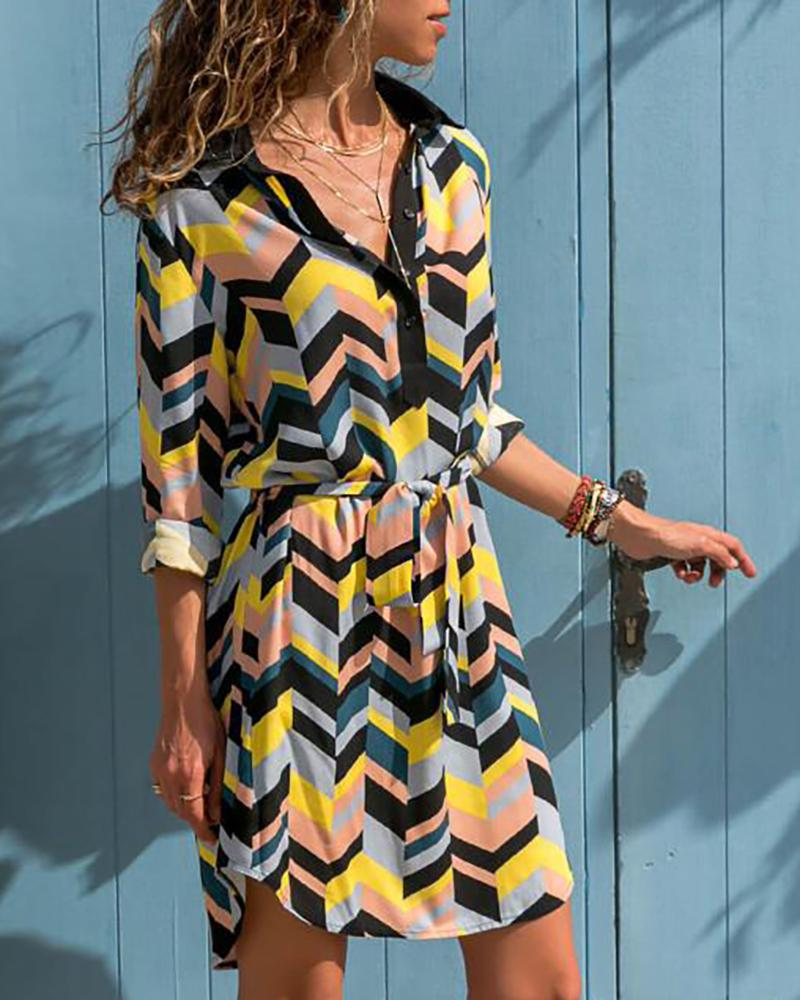 Colorful Geo Print Shirt Dress, Multicolor