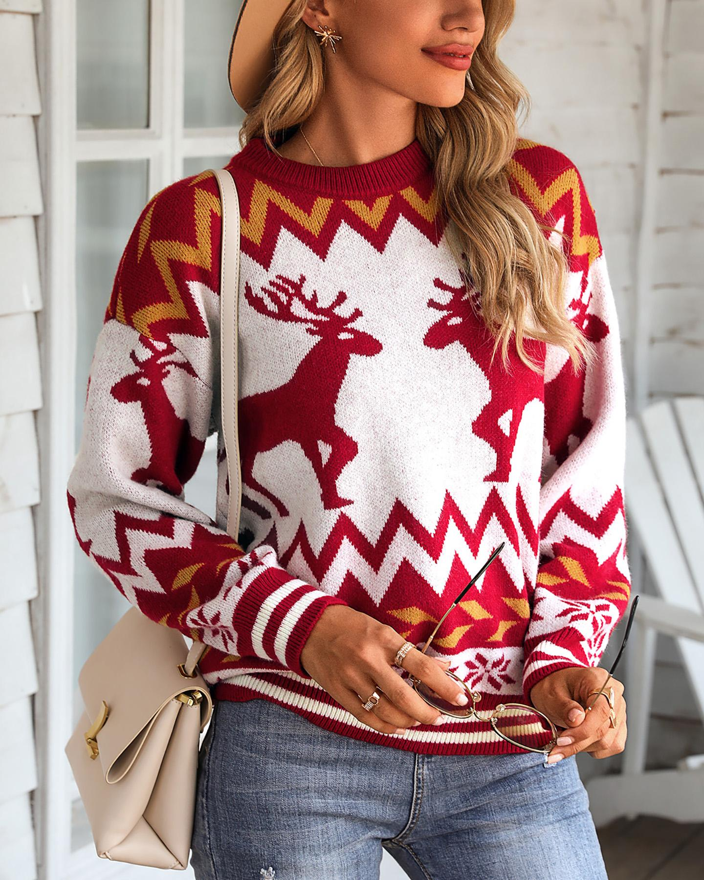 ivrose / Christmas Reindeer Print Knit Ugly Sweater