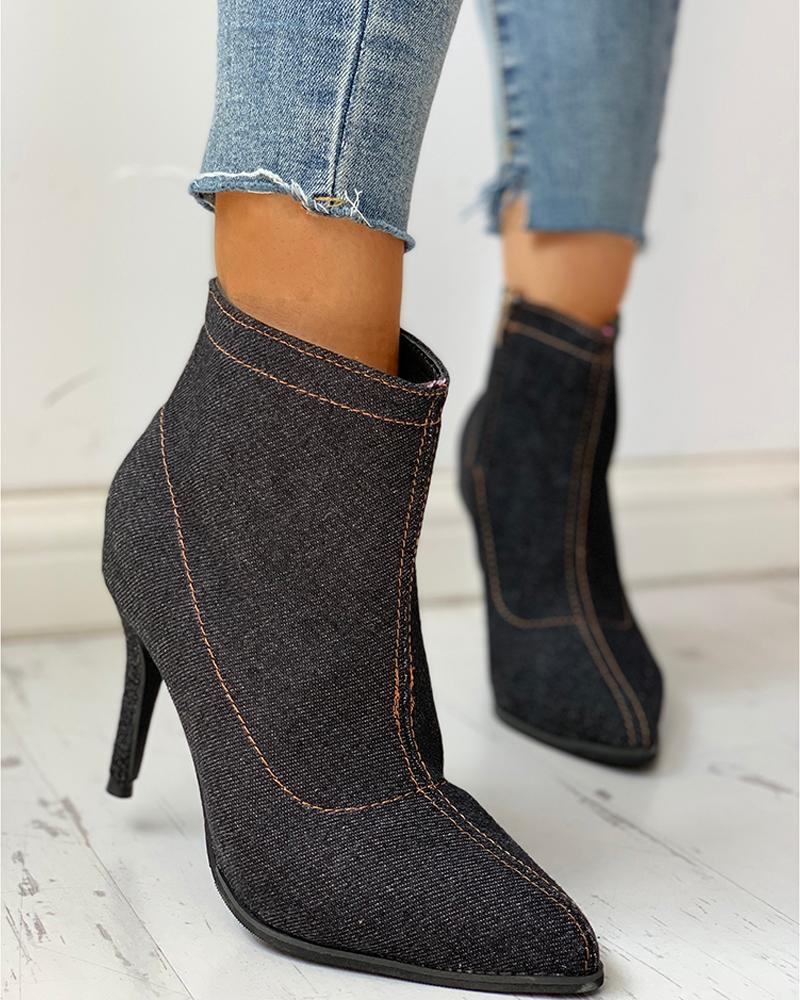 Solid Pointed Toe Zipper Denim Thin Heeled Boots