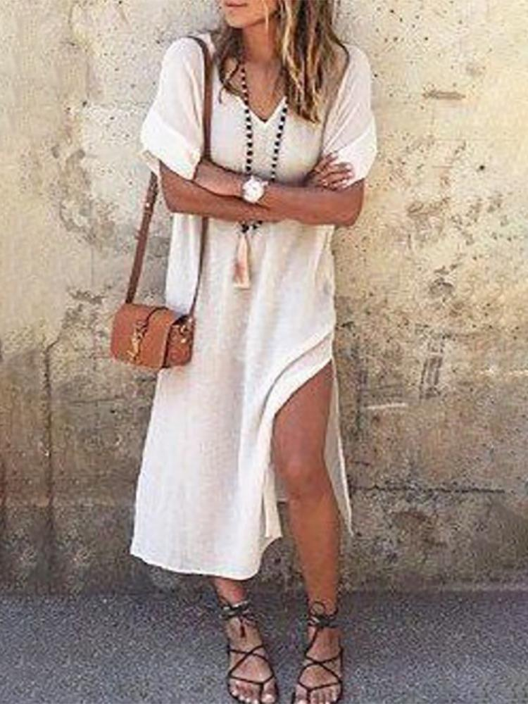 Stylish V Neck High Slit Casual Dress