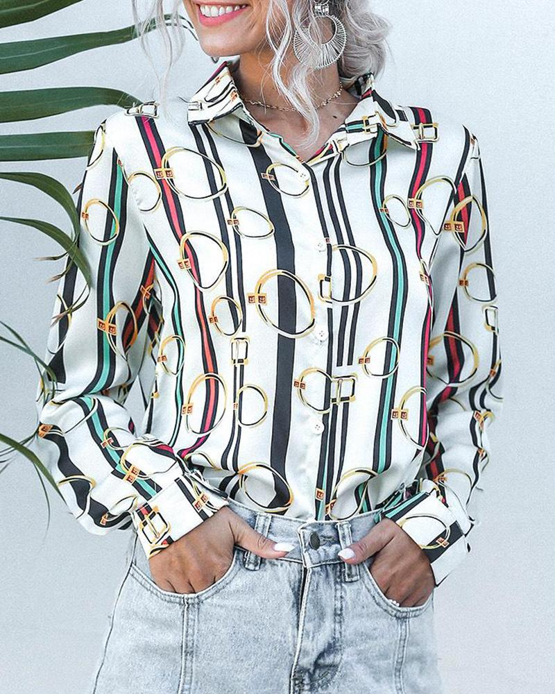 Colorful Striped Printed Long Sleeve Shirt фото