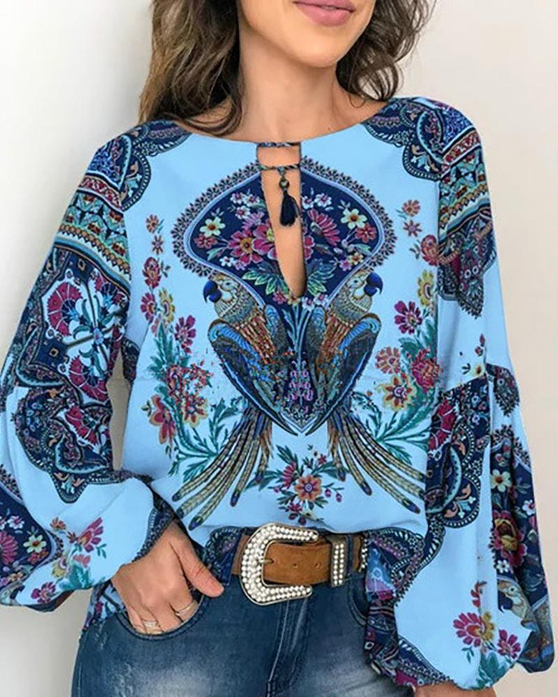 Exotic Print O-neck Lantern Sleeve Blouse фото