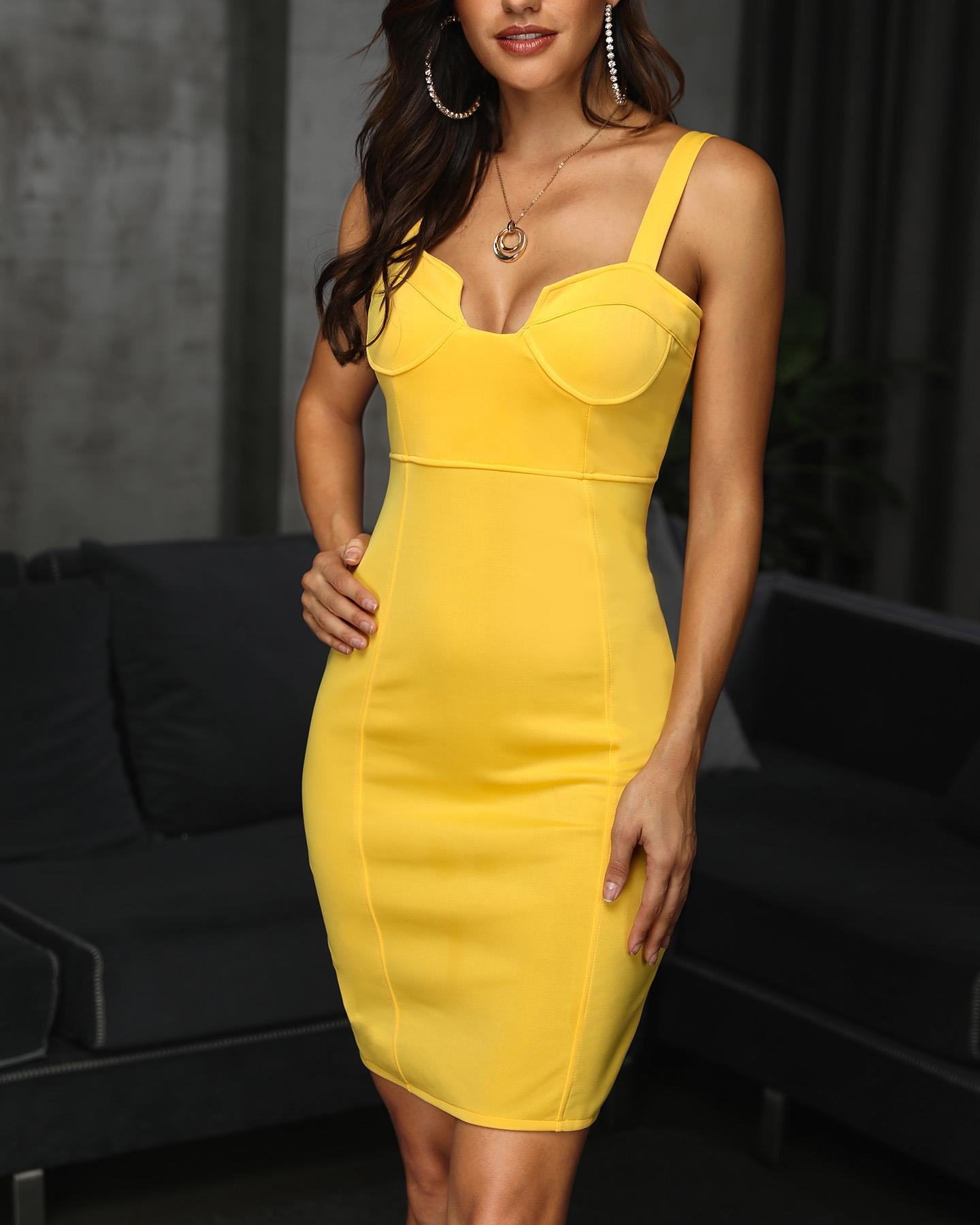 Solid Thin Strap U-Cut Bodycon Dress