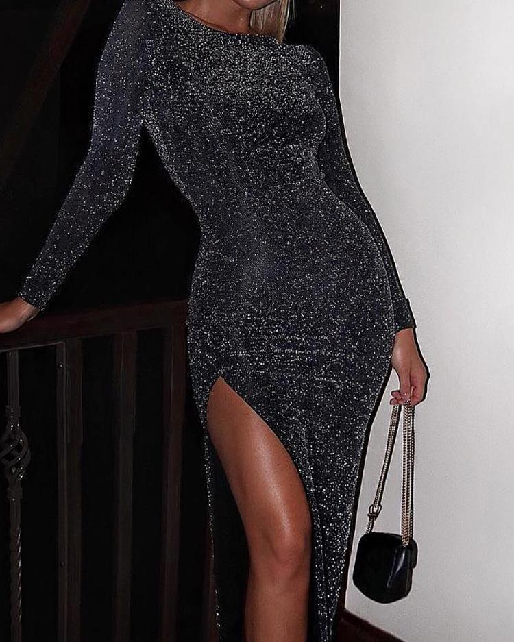 Image of Glitter Long Sleeve Thigh Slit Party Dress