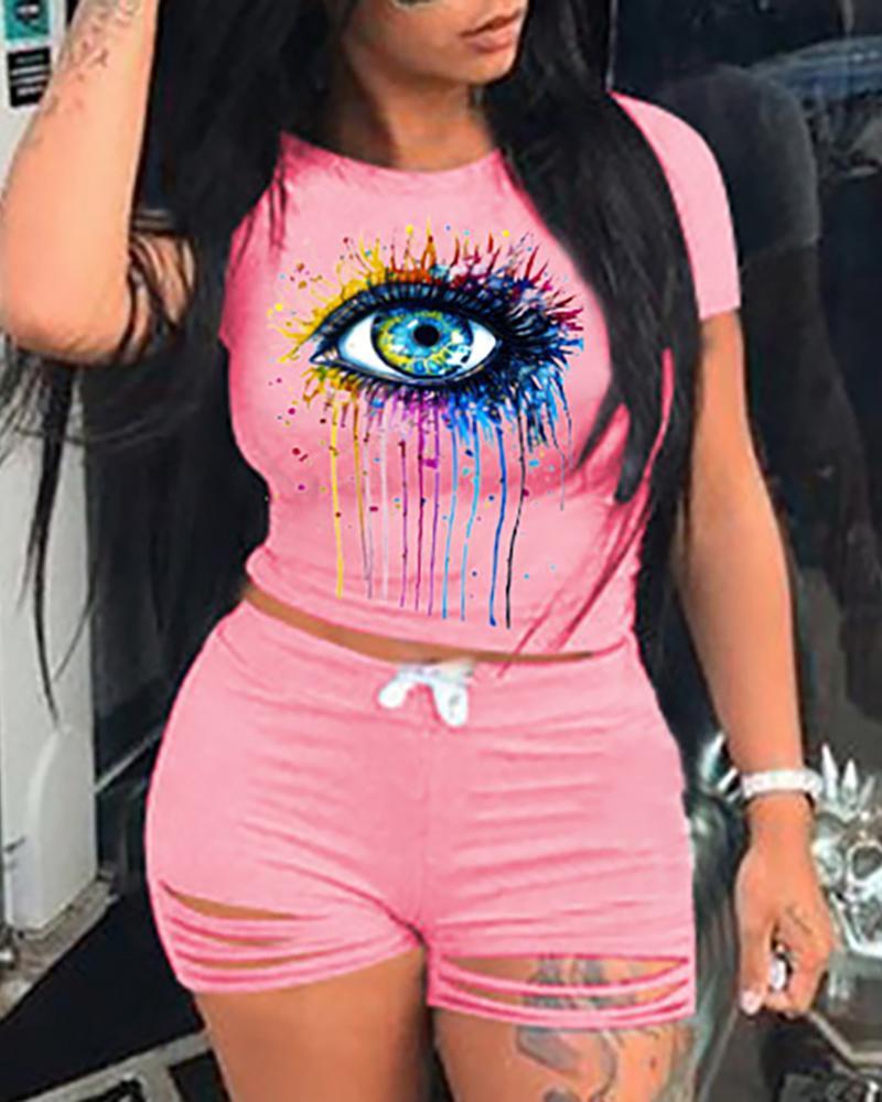 Eye Print Colorblock Top & Cutout Shorts Set фото