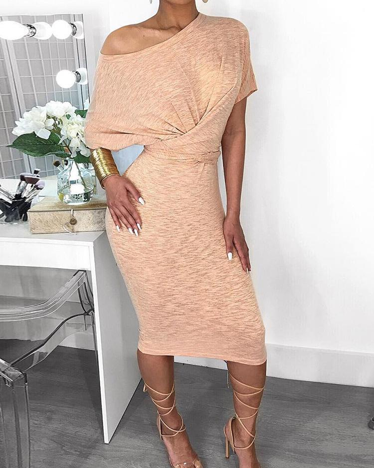 Short Sleeve Ruched Design Bodycon Dress