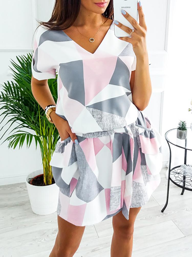 Belted Detail V Neck Pocket Pleated Casual Dress