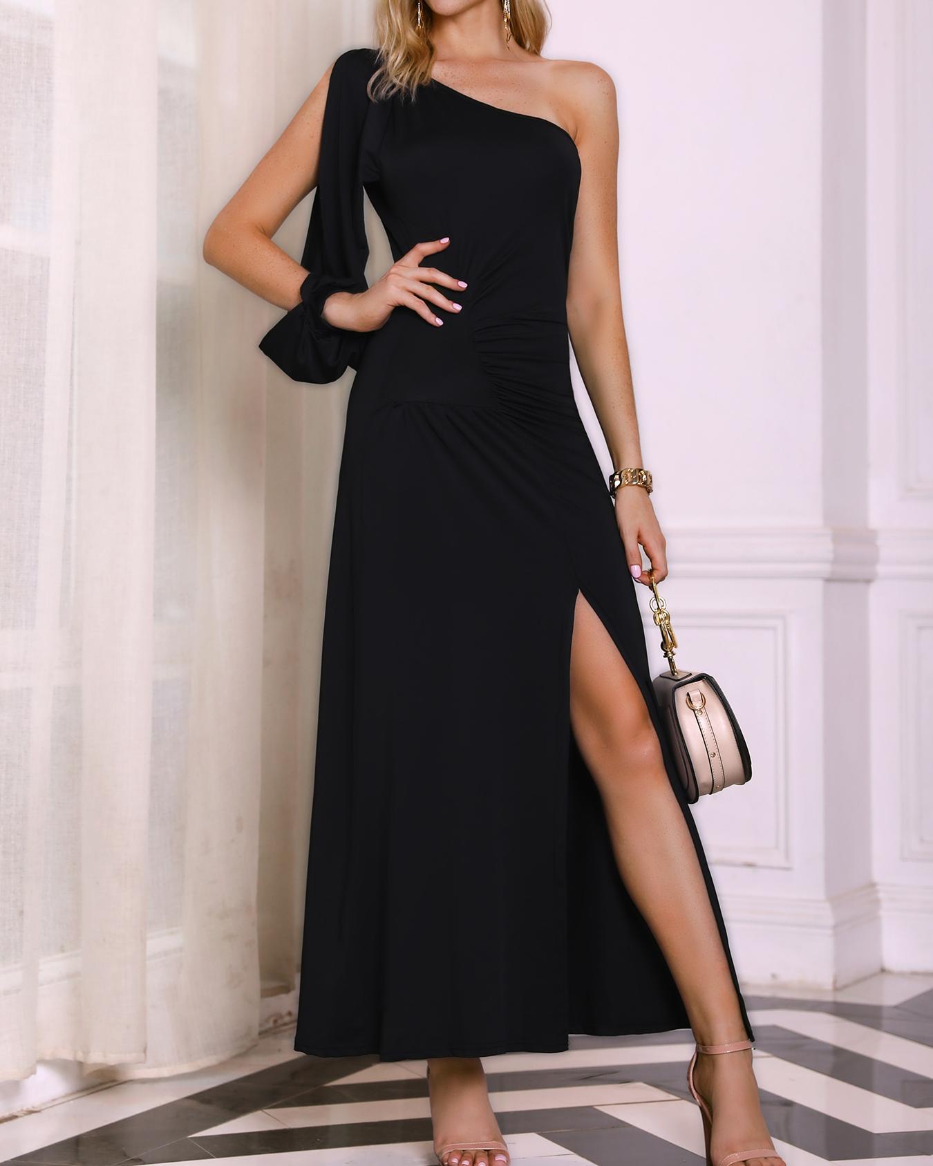 chicme / Um ombro fenda manga alta fenda vestido de festa