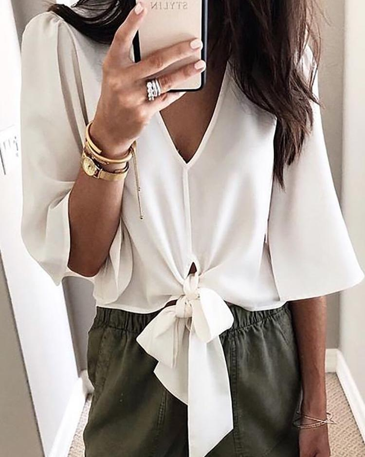 Solid V-Neck Knot Front Blouse, White