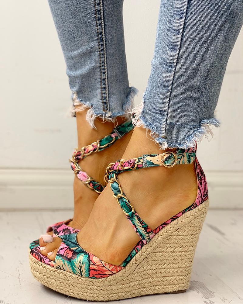 Floral Chain Detail Platform Wedge Sandals, joyshoetique, green  - buy with discount