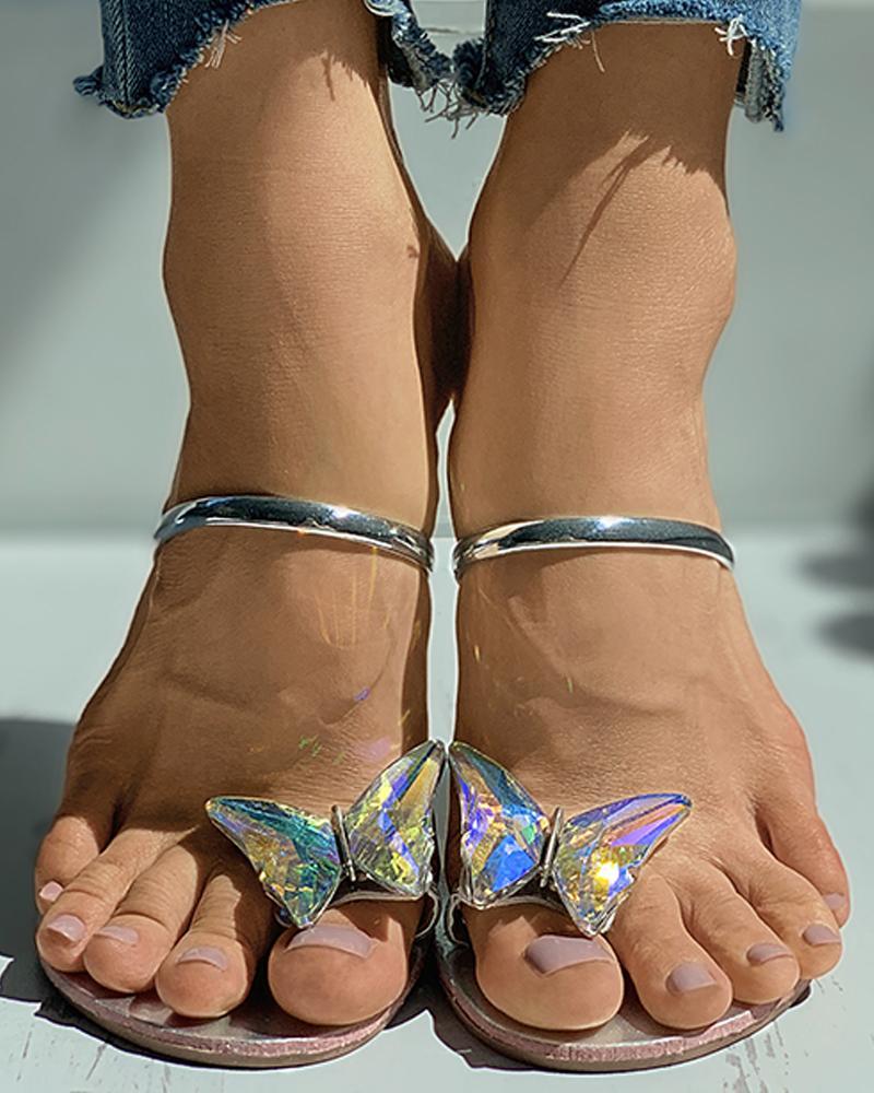 chicme / Sandálias planas com anel de dedo do pé com padrão borboleta