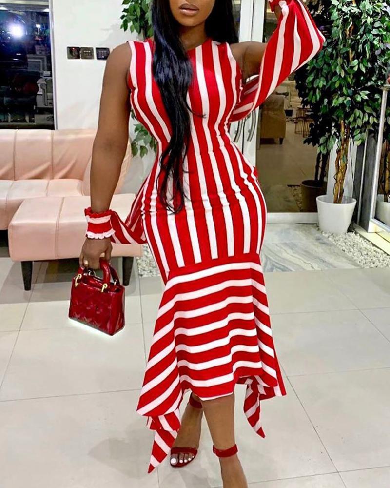 chicme / Sleeveless Striped Fishtail Midi Dress