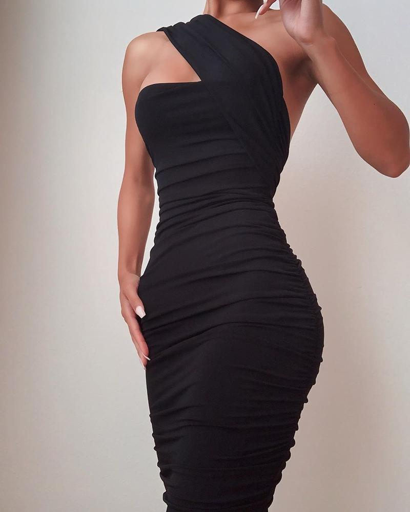 One Shoulder Sleeveless Ruched Bodycon Dress фото