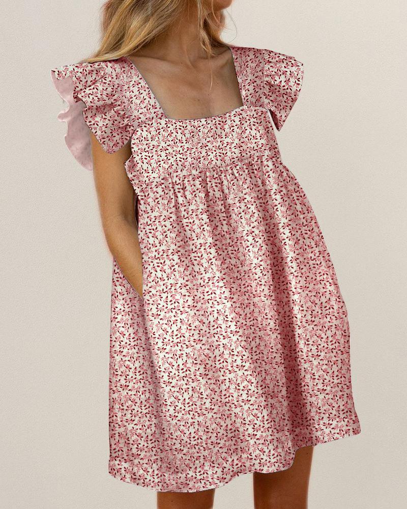 Floral Print Square Neck Ruffles Dress фото