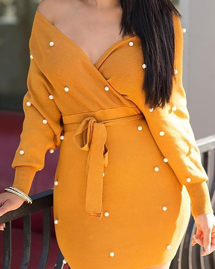 boutiquefeel / Vestido de suéter con cinturón y hombros descubiertos