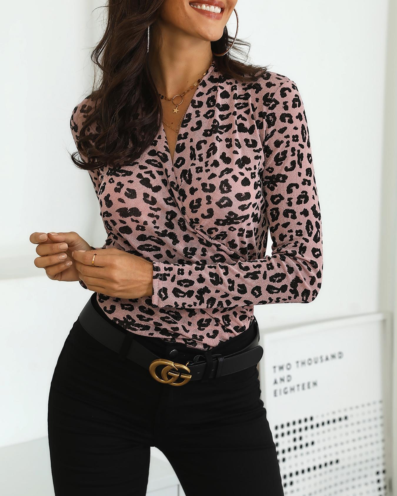 Leopard Print Long Sleeve Wrap Blouse
