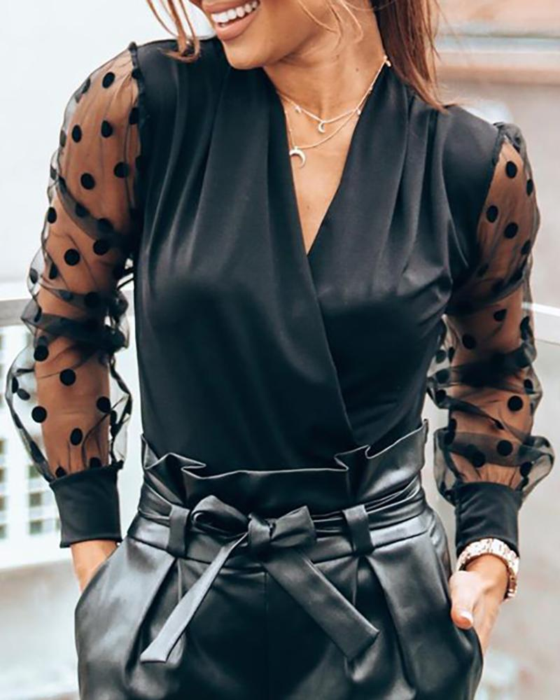 Sheer Mesh Dot Wrap Blouse фото