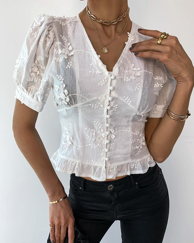 Floral Pattern Ruffles Buttoned Shirring Detail Top фото