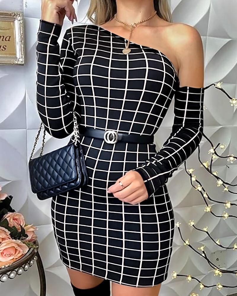 ivrose / One Shoulder Grid Print Bodycon Dress