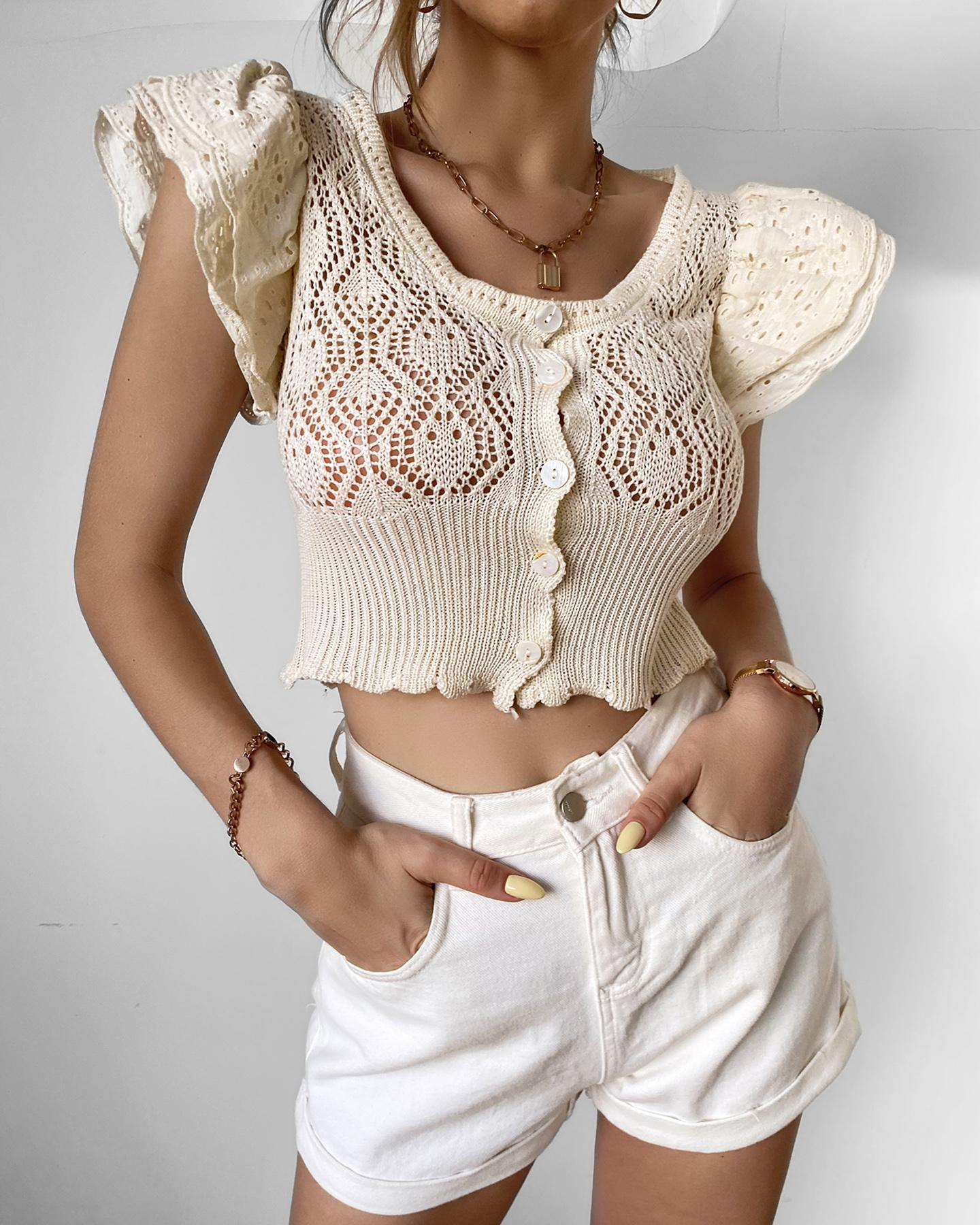 Knit Hollow Out Eyelet Embroidery Crop Top фото