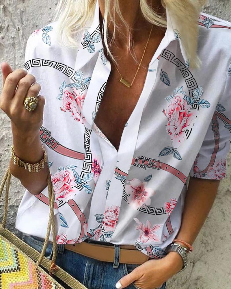 Floral Chain Print Casual Blouse фото