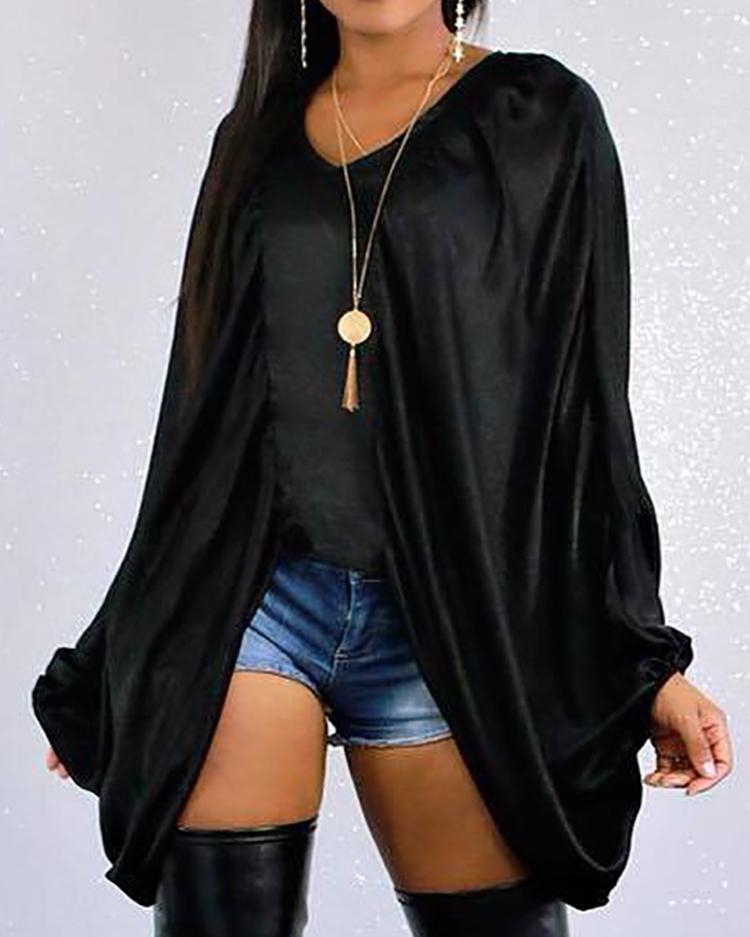 V-Neck Batwing Sleeve Top