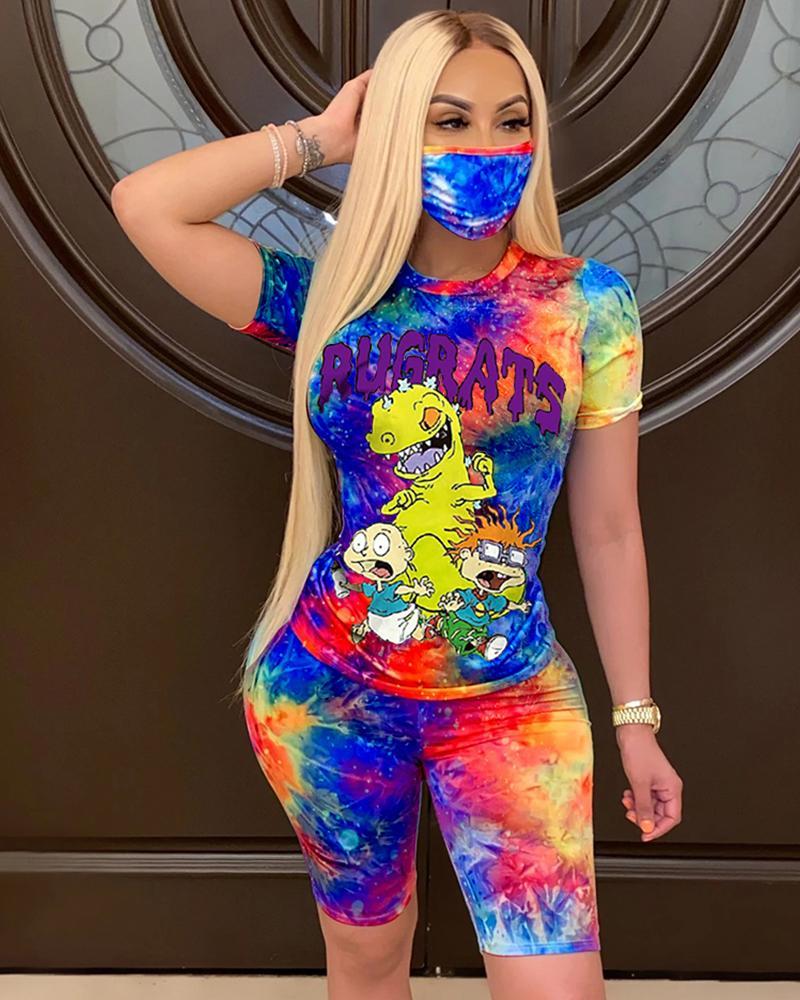 ivrose / Tie Dye Cartoon Imprimir Top casual com rosto Bandana & Shorts Set