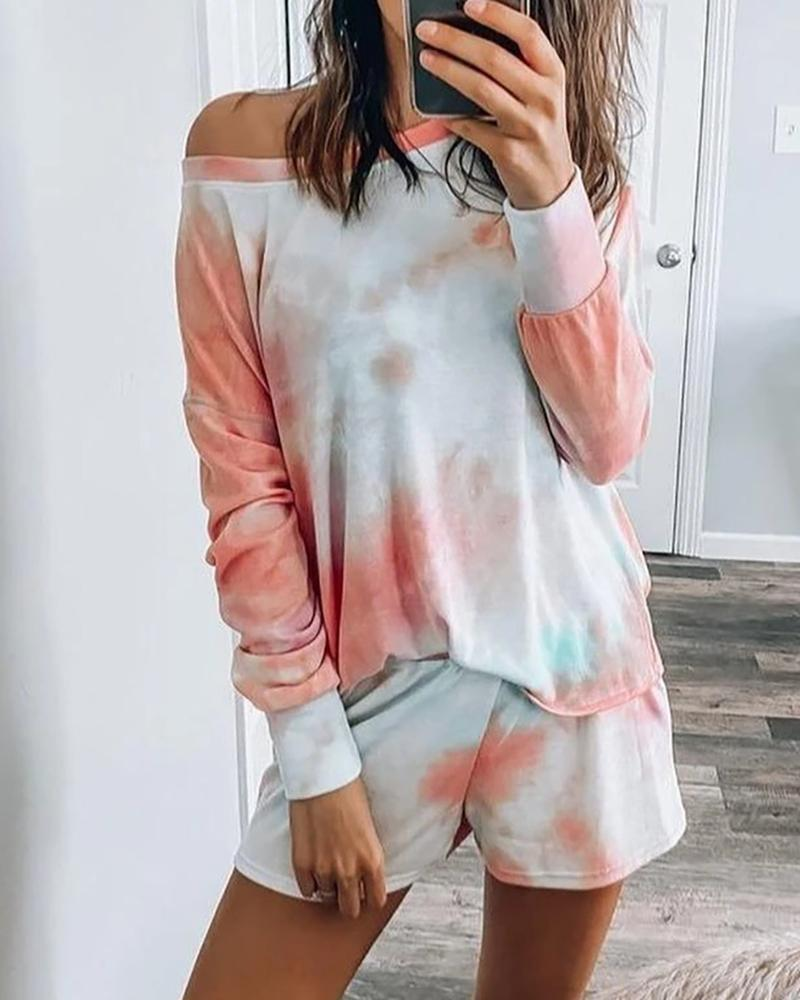 Long Sleeve Tie Dye Print Pajamas Set фото