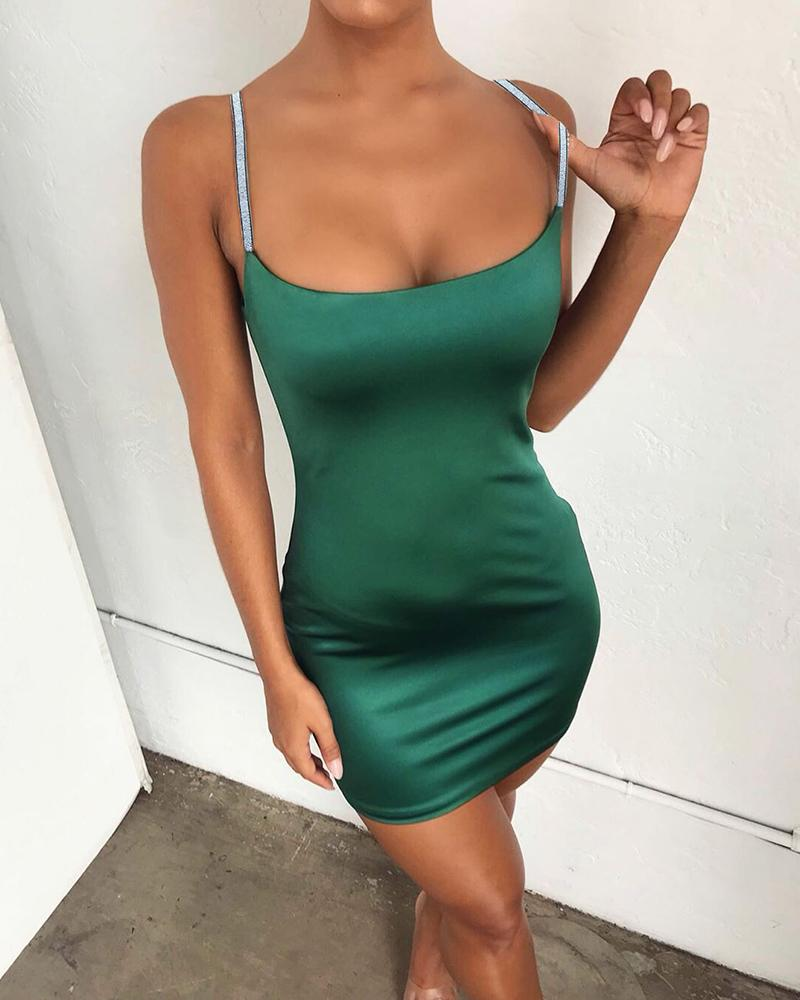Glittering Spaghetti Strap Solid Bodycon Dress фото