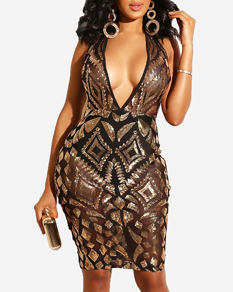 Deep V Sheer Sequins Bodycon Dress фото