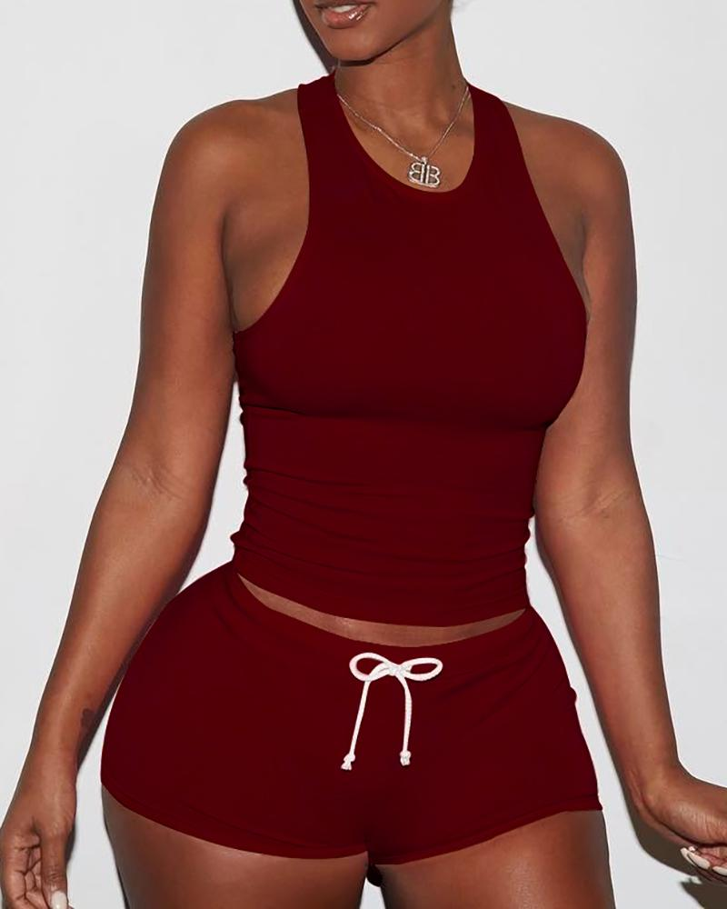 Sexy Solid Color Sporty Vest Shorts Set