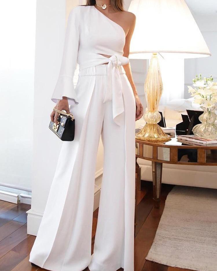 Solid One Shoulder Crop Top & Wide Leg Pants Sets