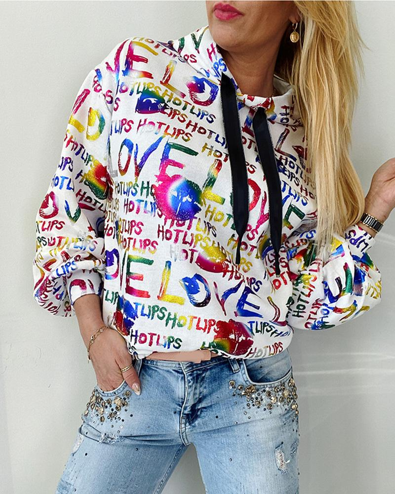 boutiquefeel / Sudadera con capucha y manga larga con estampado de letras