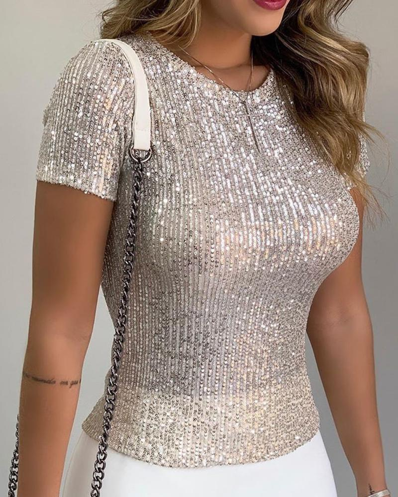Glitter Short Sleeve Round Neck Sequins Blouse фото