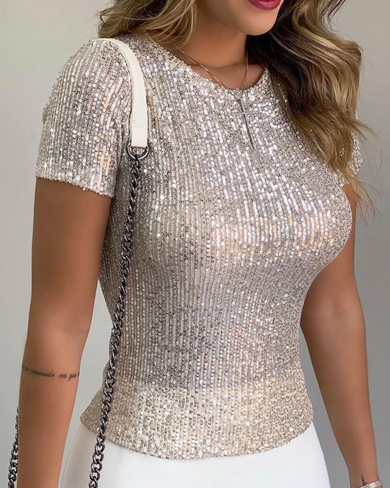 joyshoetique / Glitter Short Sleeve Round Neck Sequins Blouse
