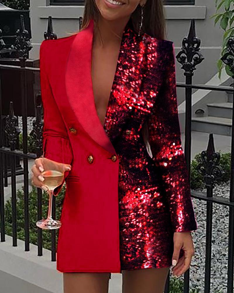 boutiquefeel / Vestido blazer de manga larga con lentejuelas colorblock