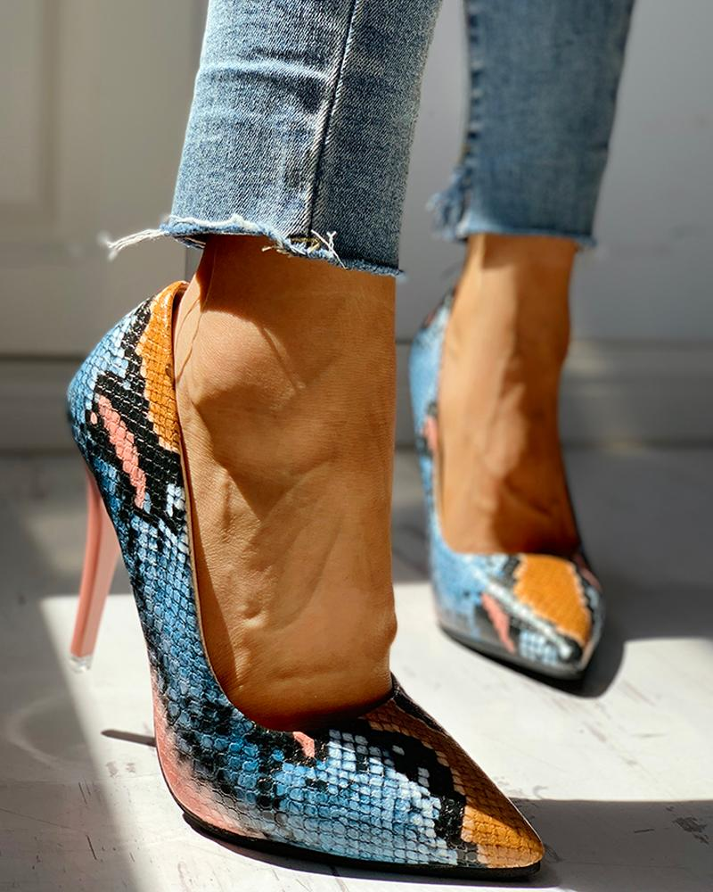 chicme / Pointed Toe Snakeskin Print Thin Heels