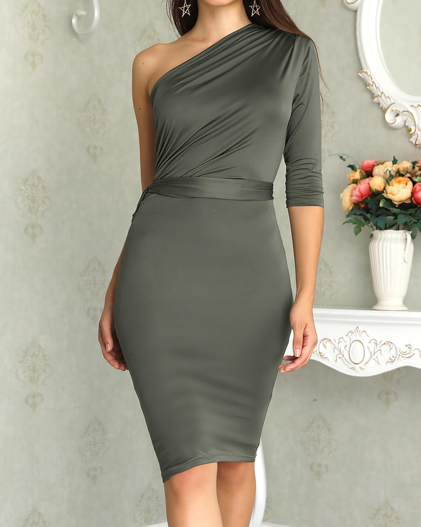 One Shoulder Scrunch Self-belted Bodycon Dress