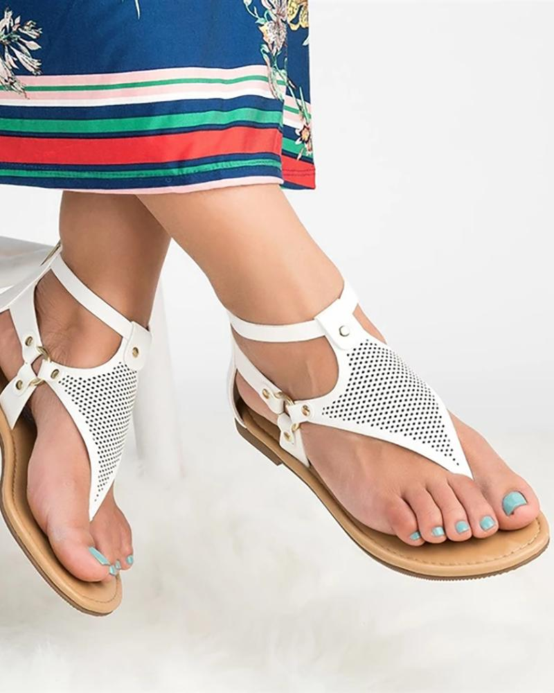 Toe Post Hollow Out Flat Sandals фото