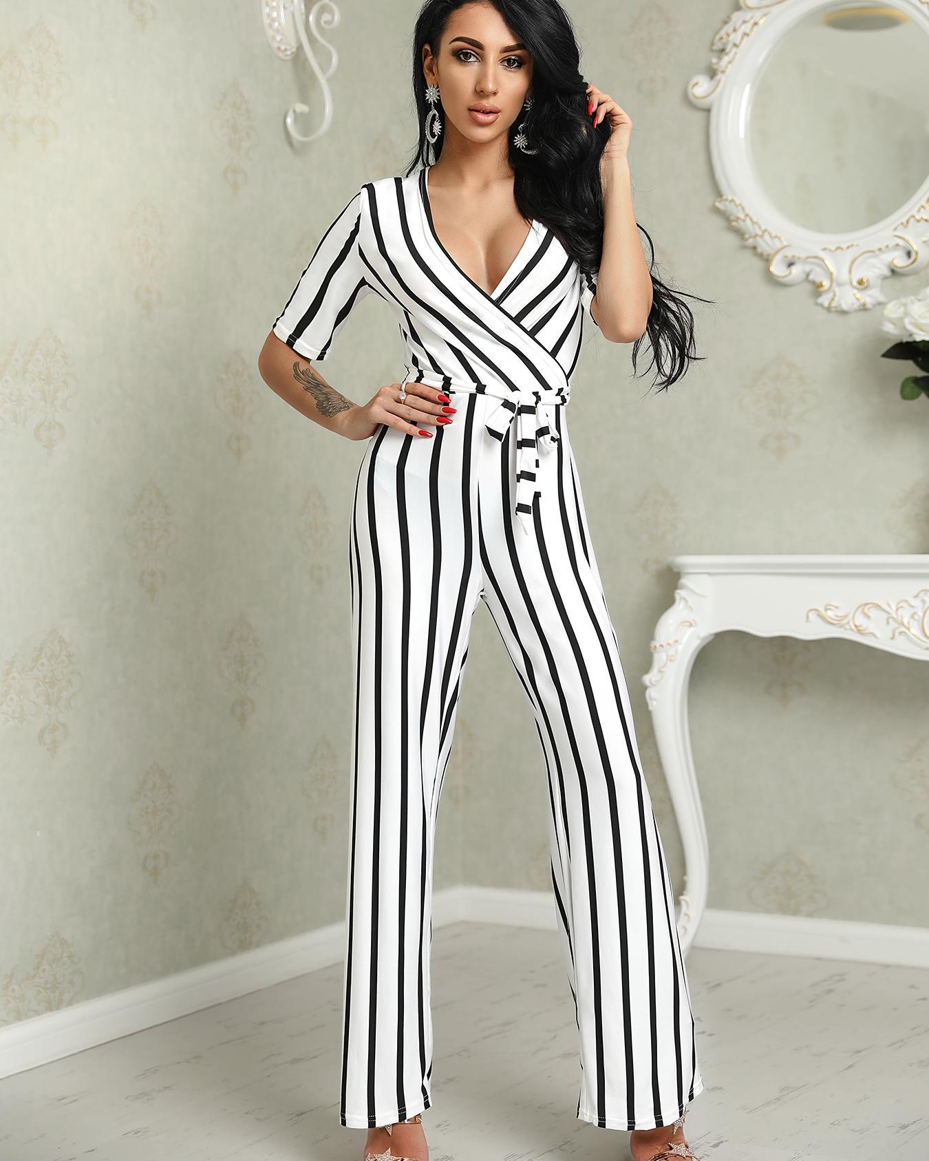 Deep V Striped Waist Belted Wide Leg Jumpsuit фото