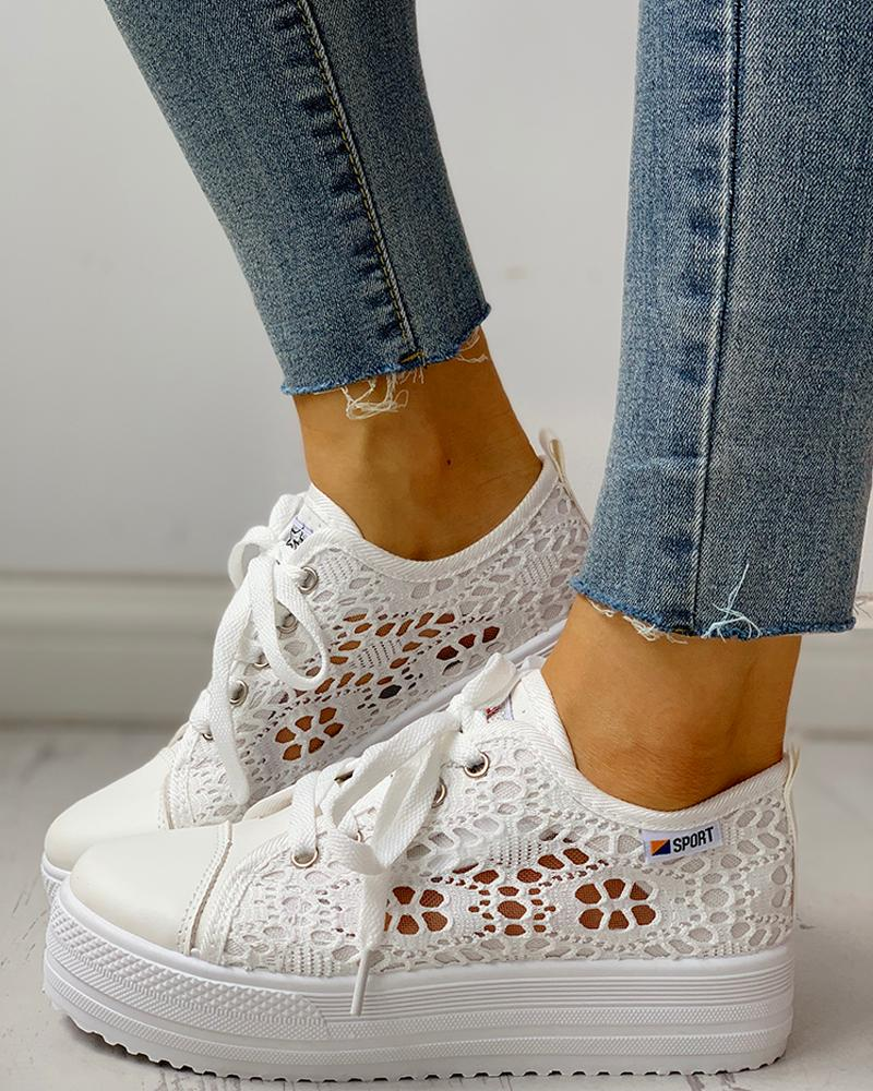 Colorblock Eyelet Hollow Out Lace-Up Sneakers фото