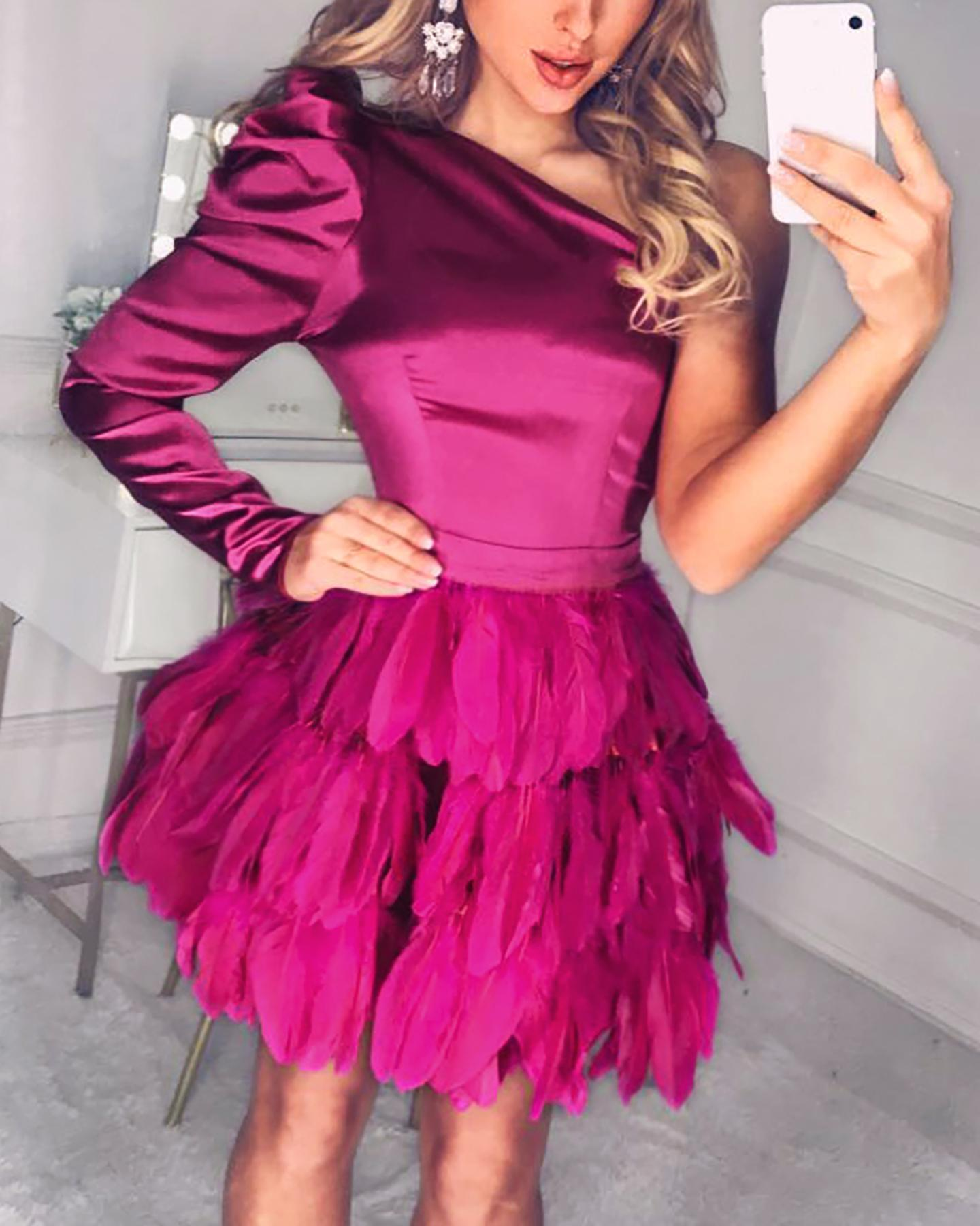 One Shoulder Feather Hem Mini Dress фото